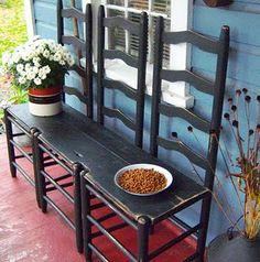 3 old chairs become an outdoor bench - aha.something I can do with the old chairs I have in the garage! Furniture Projects, Furniture Makeover, Home Projects, Diy Furniture, Outdoor Furniture Sets, Furniture Plans, Antique Furniture, Bedroom Furniture, Modern Furniture