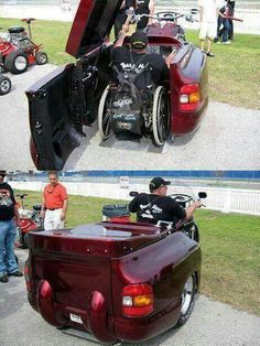 Who says just because you use a wheelchair you can't still ride! You cannot even tell there is a wheelchair under the trunk. I CAN'T TELL IF THE RIDER SLIDES FORWARD FROM HIS CHAIR INTO A SEPARATE SEAT, OR EXACTLY HOW IT WORKS.