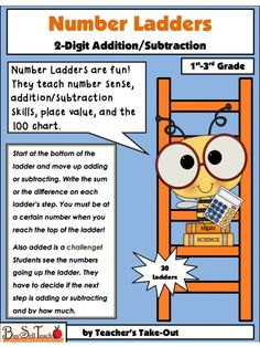 Number Ladders are fun! They teach number sense, addition/subtraction skills, place value, and the 100 chart.