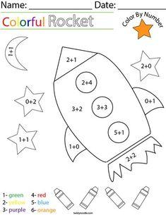 Addition- Color by Number Rocket Math Worksheet