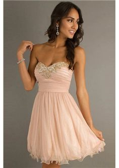 Funky A-line Strapless Beading Homecoming Dress