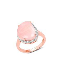 Pink Opal & White Topaz Ring