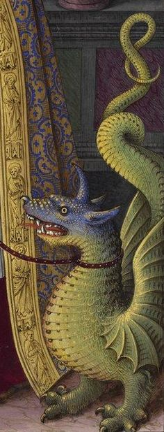 (detail) Manuscript illuminator Jean Bourdichon (1457-59-1521), 1503-08, Grandes Heures d'Anne de Bretagne, France. #Dragon