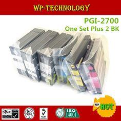 One Set Plus 2 BK Compatible ink cartridges  suit for PGI-2700 xl , PGI2700xl suit for Canon MAXIFY iB4070  MB5070  MB5370 etc