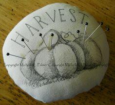 Harvest Pumpkin Fall Soft Sculpture Round Pincushion Pillow Ornament Pen Ink Fabric Illustration by Michelle Palmer