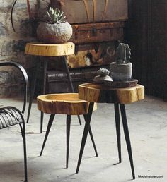 Roost Terra Stool/Side Table is made from acacia wood atop three sturdy, hand-forged iron legs, these quirky pieces make rustic stools or side tables. Outside Furniture, Wood Furniture, Furniture Design, Table Cafe, High Top Tables, Dinette Sets, Pub Table Sets, Pub Set, Table And Chairs