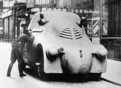 """Dieselpunk: Škoda PA-II Armoured car 1923 The PA-II (""""Armored Car II"""") was developed by Škoda, which capitalized on the experience gained on the previous semi-experimental PA-I, in Military First, Military History, Military Photos, Gun Turret, Colani, Armored Vehicles, Armored Car, War Machine, Dieselpunk"""