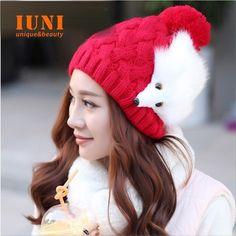2014 Winter Cap Women Warm Fashion hand hook knitted cap The fox hat For Gilrs Elastic Beanie cap woman accessories-