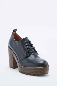 Deena & Ozzy Kam Lace-up Rubber-Sole Heeled Shoes in Black 5316455944962