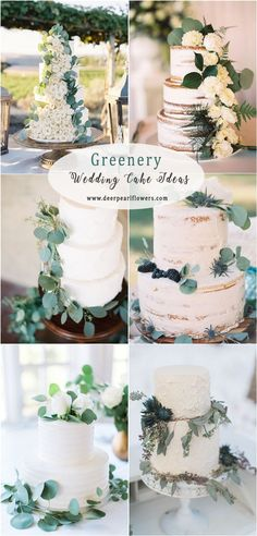 Greenery eucalyptus wedding cakes