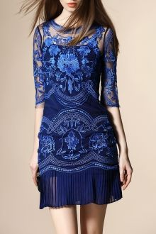 Embroidery See-Through Zippered Dress