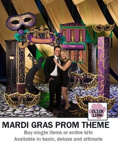Buy Mardi Gras themed decorations for proms, homecoming dances and other party events.  Available by the piece or as kits.  Basic kit starts at $399.00