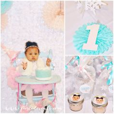 Winter Wonderland first birthday party ideas, adorable winter theme birthday party for girl with snowy backdrop, vintage highchair, cute favors, candy buffet dessert table, hot chocolate bar and more!  1st birthday party ideas