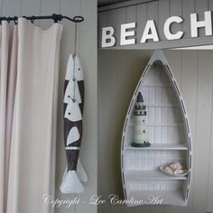 Boat Shelf For Bathroom. Beach House Accessories Boat As Shelf Lighthouse Wooden Fish A Seaside Bach
