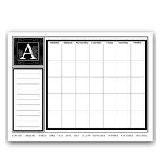 Ready2HangArt Monogram Monthly Dry Erase Calendar - CAL007S-AP1216