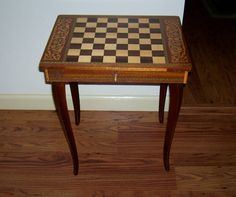 Antique Italian Made Checkers Chess Table