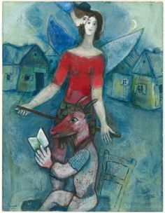 """Marc Chagall The Angel and the Reader, c. 1930 Gouache with encaustic and oil paint on cream wove paper 636 x 488 mm Signed recto, lower left, in blue and brown gouache: """"Chagall / Marc"""" Olivia Shaler Swan Memorial Collection, The Art Institute of Chicago Marc Chagall, Artist Chagall, Chagall Paintings, Folklore Russe, Atelier D Art, Modigliani, Jewish Art, Art Institute Of Chicago, Art Graphique"""