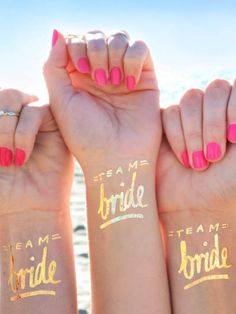 Bride-to-be accessories. Team bride temporary tattoos, Not on the High Street #bride #accessories