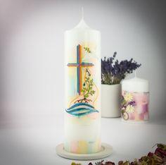 Taufkerze Taufgeschenk pastell Kerze Taube WegKreuz von Kreatiwita