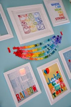 10 super creative ways to use paint chips! Love the pixelated one.now to find that many paint chips. Rainbow Room, Rainbow Colors, Rainbow Art, Bright Colors, Bright Art, Rainbow Theme, Cool Diy, Paint Chip Cards, Make Your Own Banner