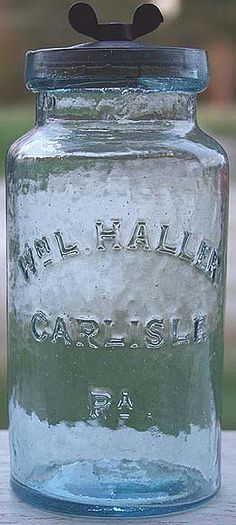 Wm L. HALLER CARLISLE PA quart jar in aqua with original cast iron stopple.