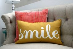 Perfect pillow for a couch or glider in the nursery - #nursery #pillow #smile