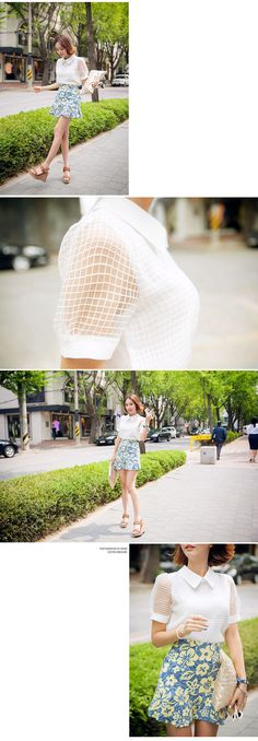 Checkered Blouse With Short See-Through Sleeves - I know you wanna kiss me. Thank you for visiting CHUU.