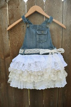 denim vintage linen and lace flower girl country wedding easter shabby chic rustic burlap dress overalls bow 3T 4T 5 6 7
