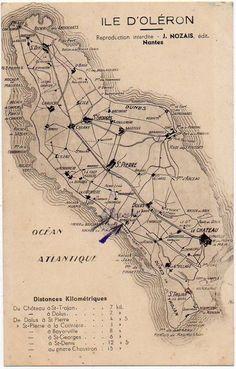 Carte de l'île d'Oléron - Ile d'Oléron vintage, Charente-Maritime, France