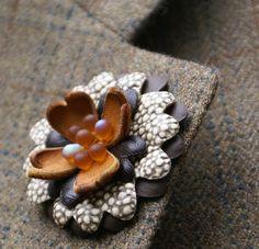 Handmade Layered leather lapel flower / by ModernRenaissanceMan, $20.00