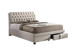 Baxton Studio Ainge Contemporary Button-Tufted Light Beige Fabric Upholstered Storage King-Size  Bed with 2-drawer Bedroom Furniture/Storage Bed/Modern Bed/Light Beige/Beige/King/Fabric Bed