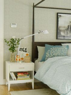 Bedroom - grey, white, light blue, light green