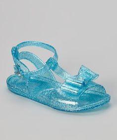 Look what I found on #zulily! Turquoise Glitter Bow Jelly Sandal by Chatties #zulilyfinds