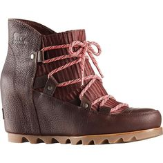 FEATURES of the Sorel Women's Sandy Wedge BootUpper: Waterproof full-grain leather and nylon upperSynthetic liningFootbed: Removable molded EVA footbed with heel cup and arch support, synthetic topcoverMidsole: Molded BPU-PU wedgeOutsole: Molde Sorel Wedge Boots, Timberland Boots, Heeled Boots, Bootie Boots, Winter Boots Outfits, Winter Snow Boots, Womens High Heels, Womens Flats, Brown Boots