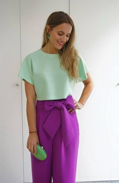 Fashion Colours, Colorful Fashion, Hijab Fashion, Fashion Outfits, Womens Fashion, Crochet Top Outfit, Color Blocking Outfits, Outfits Mujer, Daily Look