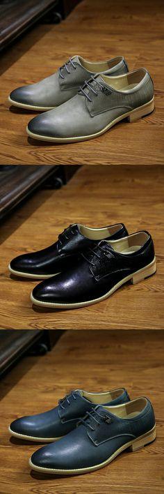 US $29.56 <Click to buy> New Arrival Spring Gentleman British Style Genuine Leather Business Men Dress Shoes Wedding Shoes Men Dress Wingtip Design