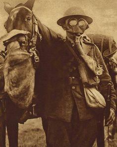 (Courtesy of The Great War Primary Documents Archive www.gwpda.org) Un soldado británico y su caballo, con máscaras de gas.