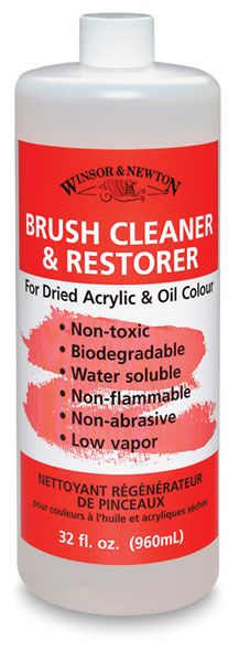Winsor & Newton Brush Cleaner and Restorer - BLICK art materials. Works to clean frisket masking fluid as well.