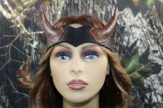 leather viking horn headpiece by TBTOBEDESIGNED1 on Etsy