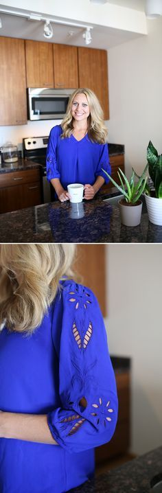 I love the color and the cutout details on the sleeve.  I can't see how long it is but if it's longer than my lower tummy I'd love to have this in a fix.   Stitch Fix July 2015 - Fit Foodie Finds