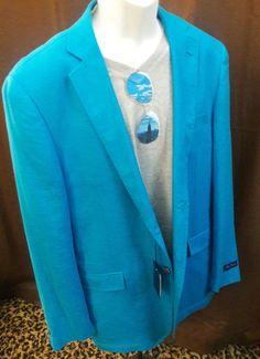 Alan Flusser Mens Blazer Jacket Sport Coat Blue Teal Turquoise LINEN 2XL XXL NEW #AlanFlusser #TwoButton