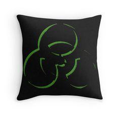 """Biohazard warning, bio waste no. 2"" Throw Pillows by cool-shirts | Redbubble"