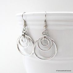 Triple hoop chainmaille earrings, silver aluminum by TattooedAndChained