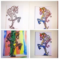 Horse painting, tattoo,Hosre colorful painting, cowboy , horse drawing,jackie racing horse, wild horse painting, rainbow,animal drawings by SkapaSkapa on Etsy