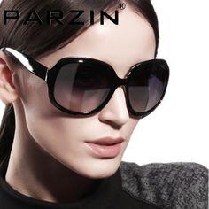 Parzin 2014  Women Sunglasses Gradient Polarized Sun Glasses Vintage Big Box Glasses shades  With Box black 6216