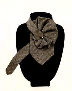 Ladies Silk Necktie Scarf, Up-cycled necktie necklace, Green silk scarf, Eco-Fashion Accessory, Woma Basic Wardrobe Pieces, Tie Crafts, Diy Schmuck, Green Necklace, Rope Necklace, Lavender Color, Green Silk, Silk Ties, Womens Scarves