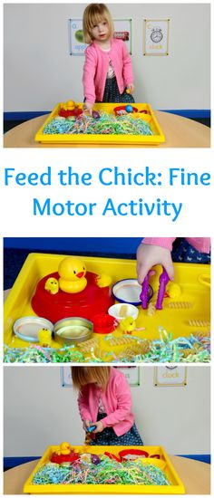 spring fine motor morning work Feed the Chick: a fun fine motor skills activity Eyfs Activities, Nursery Activities, Motor Skills Activities, Easter Activities, Spring Activities, Infant Activities, Fine Motor Skills, Activities For Kids, Finger Gym