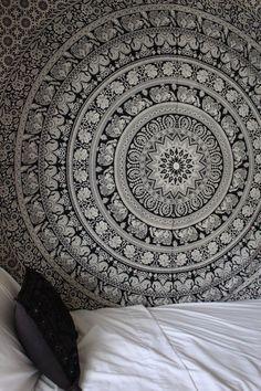 Black & White Gypsy Wildflower Mandala Tapestry Wall Hanging