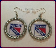 New York Rangers Earrings Unique Custom made Sports & Themed Jewelry nfl,ncaa,mlb,nba,nsl,  NHL Earrings by SportsnBabyCouture on Etsy