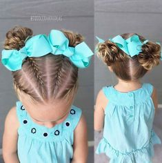 French braids and messy buns - toddler hair ideas Lil Girl Hairstyles, Princess Hairstyles, Braided Hairstyles, Toddler Hairstyles, Girl Hair Dos, Girl Short Hair, Natural Hair Styles, Short Hair Styles, Girls Braids